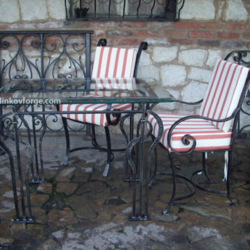 Wrought iron table and chairs  <br>1