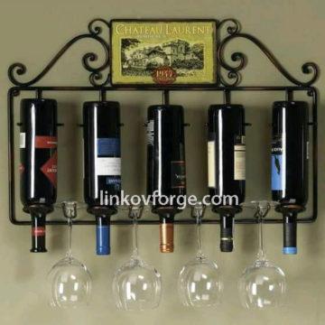 Поставка за винени бутилки от ковано желязо<br>8